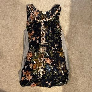 Anthropologie Floral and Grey tank